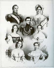 King William I and his third wife Queen Pauline (above), with their children Crown Prince Charles (centre), Catherine (bottom left) and Augusta (bottom right) and the king's two daughters from his second marriage Princesses Sophie (centre left) and Marie (centre right) (Source: Wikimedia)