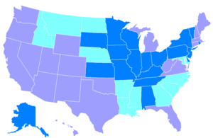 English: Years U.S. states passed unlimited pr...