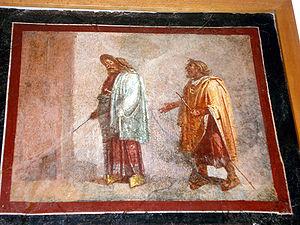 Livius Andronicus - Roman fresco of a theatre scene