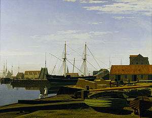 Larsens Plads - Larsen's Place painted by Carl Dahl in 1840