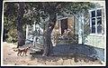 Dahlby 19 juni 1883. Man, kvinna, barn och hund vid veranda. Akvarell av Fritz von Dardel - Nordiska museet - NMA.0037529.jpg