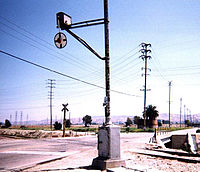 Wigwag lower-quadrant railroad signal Redlands, CA