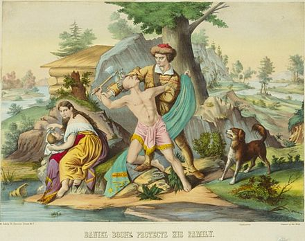 "This 1874 lithograph entitled ""Daniel Boone protects his family"" is a representative image of Boone as an Indian fighter. Daniel Boone protects his family.jpg"