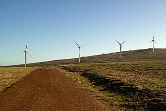 Renewable energy in South Africa - The primary sources of renewable energy in South Africa are; solar, wind, hydroelectric, and biomass. Pictured here are wind turbines in Darling, Cape Province, South Africa.