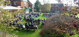 Bruderhof Communities - Darvell Bruderhof meeting outdoors