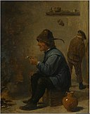 David Teniers (II) - A man holding a pipe sitting before a fire in a tavern, a man peeing in the corner.jpg