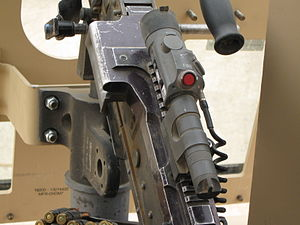 Dazzler (weapon) - A Green Laser Dazzler attached to a M240B during the Iraq War.