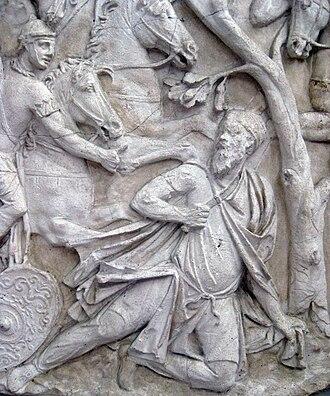 Decebalus - Decebalus' suicide, from Trajan's Column