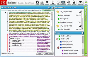 Dedoose - Image: Dedoose Qualitative Excerpting