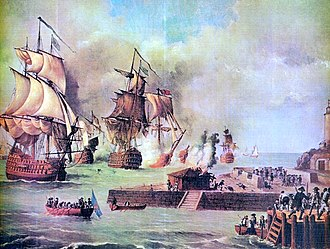 Siege of Cartagena de Indias of 1741, where Spanish Empire forces of 2,800 men, commanded by Blas de Lezo, defeated the British fleet and armies of 23,600 soldiers under Admiral Edward Vernon. The failed siege was decisive for the victory of the War of Jenkins' Ear, in which the British wanted to take over various lands of Spanish America. Defensa de Cartagena de Indias por la escuadra de D. Blas de Lezo, ano 1741.jpg