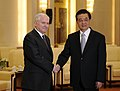 Defense.gov News Photo 110111-F-6655M-007 - Secretary of Defense Robert M. Gates shakes hands with Chinese President and Chairman of the Central Military Commission Hu Jintao at the Hall of.jpg