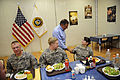 Defense.gov News Photo 110711-F-RG147-512 - Secretary of Defense Leon E. Panetta meets with troops for lunch at a dining facility at Camp Victory, Iraq, on July 11, 2011.jpg