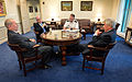 Defense Secretary Chuck Hagel, right, meets with retired Air Force Gen. Larry D. Welch, left, and retired Navy Adm. John C. Harvey Jr., second from left, at the Pentagon 140219-D-NI589-033b.jpg