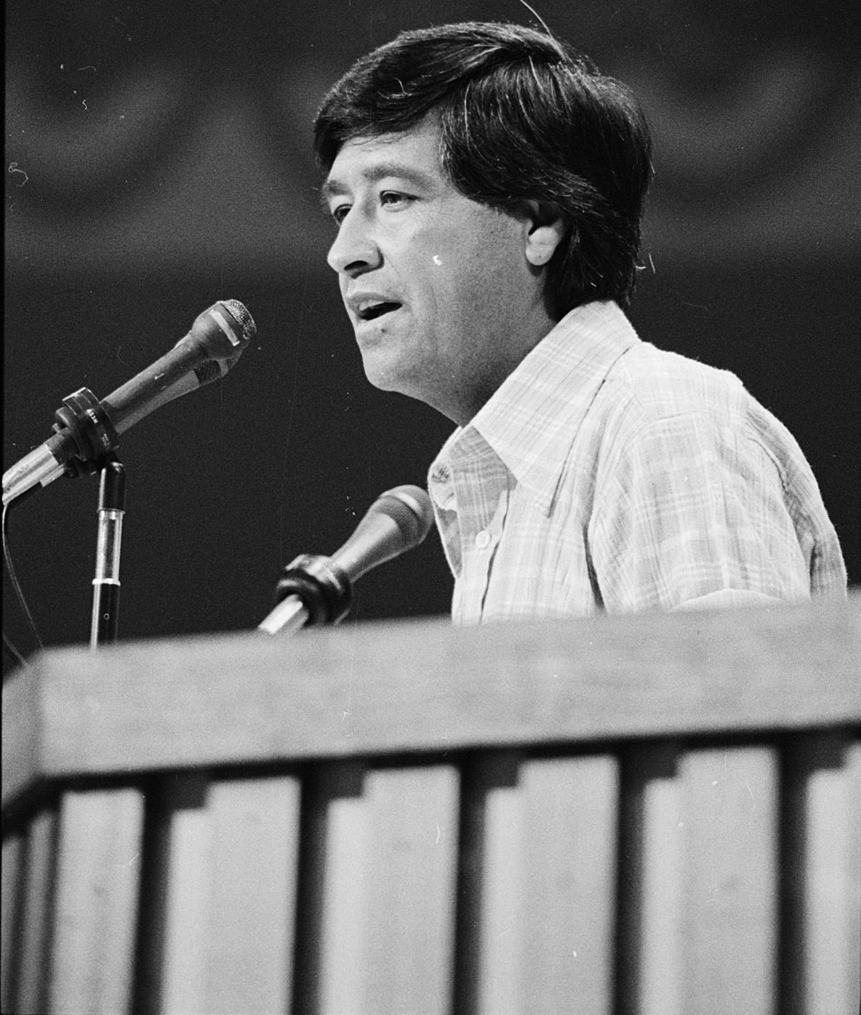 Democratic Convention in New York City, July 14, 1976. Cesar Chavez at podium, nominating Gov. Brown