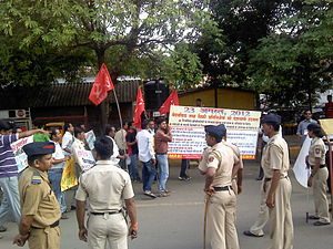 Law enforcement in India - Maharashtra Police personnel keeping a vigil during a public protest, 2012