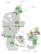 Annotated version of standard SVG motorway map of Denmark