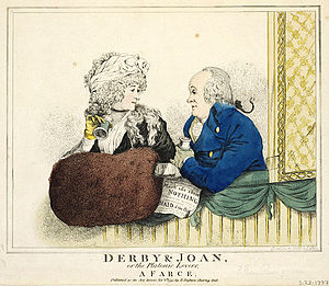 Robert Dighton - A satirical image of Elizabeth Farren and Edward Smith Stanley, 12th Earl of Derby, 1795
