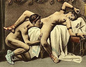 Cunnilingus - Édouard-Henri Avril's depiction of cunnilingus in the spreadeagle position