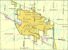 Detailed map of Hays, Kansas.png
