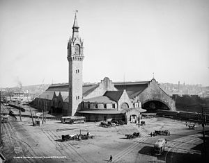 Union Station (Worcester, Massachusetts) - The 1875-built Union Station in 1906