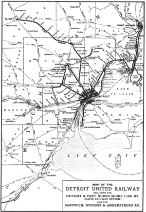Transit Windsor - A map showing the Detroit United Railway's network in 1904. Interurban routes link street railroads in Detroit, Port Huron, and Windsor.