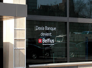 2008–09 Belgian financial crisis - Window ad announcing the name change of Dexia Bank Belgium