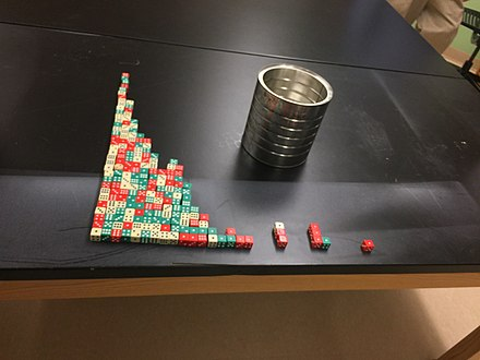 Half life demonstrated using dice in a classroom experiment Dice half-life decay.jpg