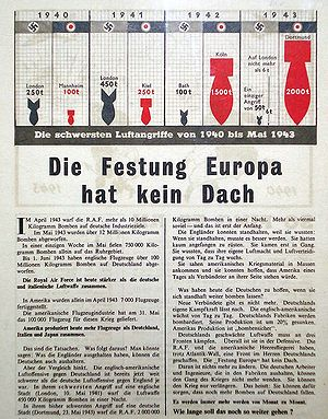 "Airborne leaflet propaganda - ""Fortress Europe has no roof"" - British propaganda leaflet dropped over Germany in 1943."