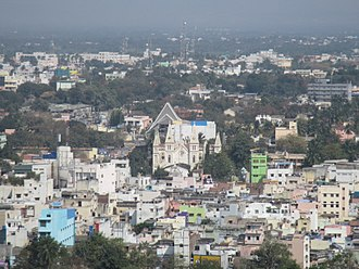Dindigul - View of the city centre from Dindigul fort
