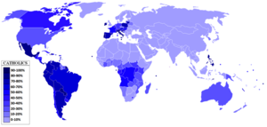 English: Percentage of Catholics in the World