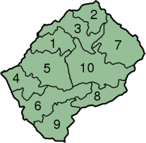 Districts of Lesotho - Map of Lesotho with the districts highlighted