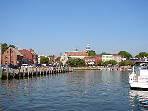 The dock or harbor in Annapolis, Maryland. Doc...