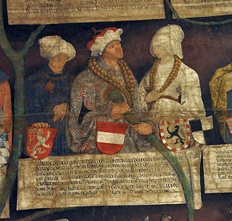Albert III, Duke of Austria - Albert and his wives Elisabeth (left) and Beatrix (right), Habsburg pedigree, 1497