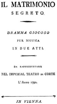 Domenico Cimarosa - Il matrimonio segreto - titlepage of the libretto - Vienna 1792.png