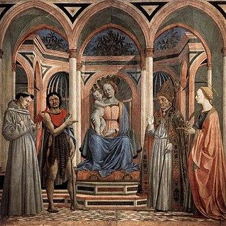 Domenico Veneziano - Santa Lucia de' Magnoli Altarpiece, c. 1445–47, tempera on panel, 198 × 207 cm, Uffizi, Florence.
