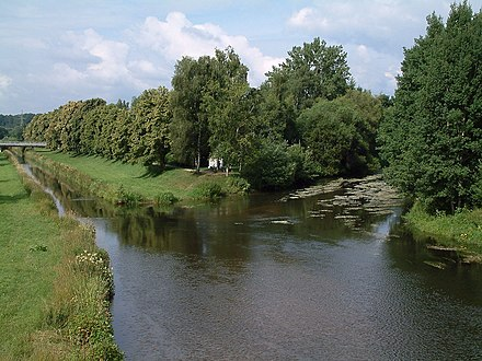The Danube's source confluence: the Donauzusammenfluss, the confluence of Breg and Brigach. Donaueschingen Donauzusammenfluss 20080714.jpg