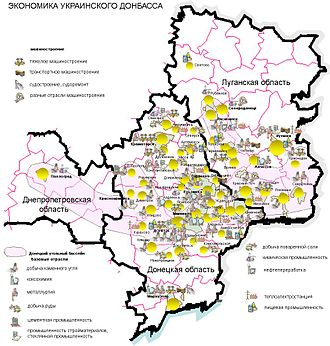 Donetsk Oblast - Map of the economic activity in the Donbas, including the Donetsk Oblast.