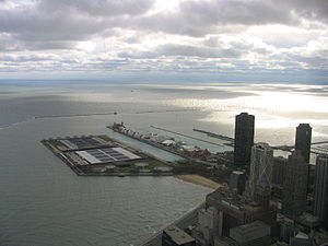Jardine Water Purification Plant - The Jardine Water Purification Plant lies north of Navy Pier. Far in the distance can be seen the Four Mile Crib from which it draws water.