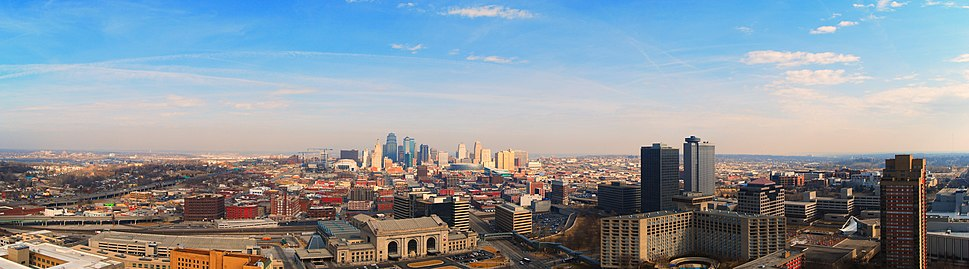 A panoramic view from the top of Liberty Memorial looking north to downtown. Union Station is in the foreground and the Crown Center to the right.