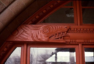 Henry Hobson Richardson - Detail from Old Colony Railroad Station showing a dragon carved in the beam of a glazed Syrian arch.