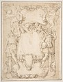 Drawing of Cartouche with Bearded Man Left, Young man crowned with Laurels Right, and Four Putti MET DP809776.jpg