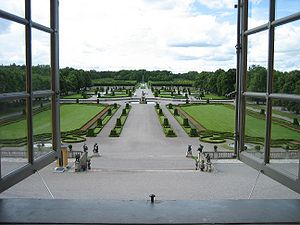 Drottningholm Palace - Overview of baroque garden, seen from the palace