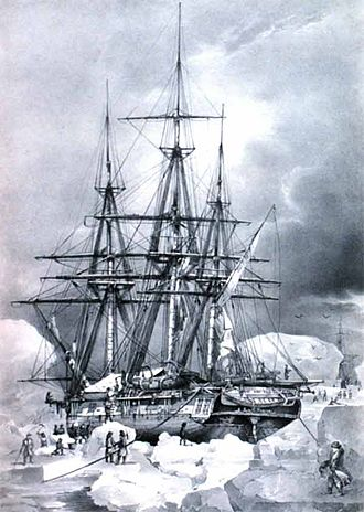 European and American voyages of scientific exploration - The Astrolabe on an ice floe – 6 February 1838