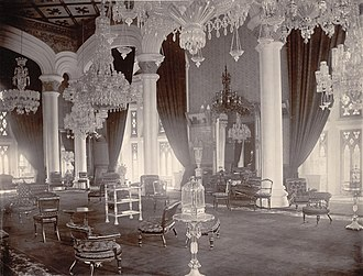Bangalore Palace - Image: Durbar Hall, Palace, Bangalore (1890). Curzon Collection's 'Souvenir of Mysore Album'