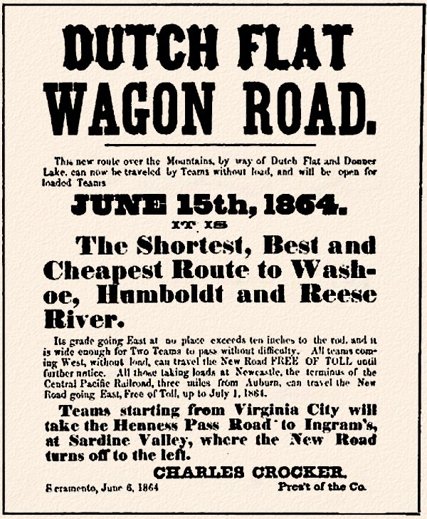 Dutch Flat Wagon Road 1864