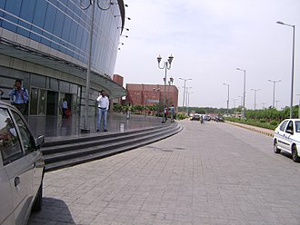 Dwarka Sector 21 metro station - The right side view of Dwarka Sector 21 Metro Station.