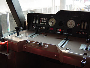 Cab (locomotive) - Driver's cab of a Japanese JR Freight Class EF210 electric locomotive