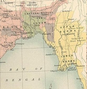 Bengali Muslims - Muslim-majority districts of Bengal highlighted in green on a map in 1909