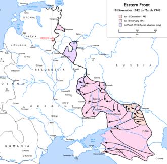Battle for Velikiye Luki - Velikiye Luki (red, upper left) and the nearby rail trunks, in the context of the Soviet 1942–1943 offensives. (click to enlarge)