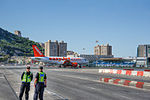EasyJet aircraft crossing Winston Churchill Avenue in Gibraltar.jpg